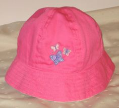 Baby Hat, Toddler Hat, Pink And Purple Butterflies,  Bucket Hat, Embroidered Cap, Sun Hat, Baby Gift, Toddler Gift, Girl Gift