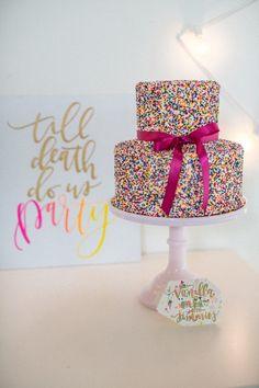 Colorful and Playful Sprinkle Wedding Cake | Stevi Saylor Photography on @limnandlovely via @aislesociety