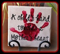 child's handprint tile - A child's hand touches a mother's heart Toddler Crafts, Preschool Crafts, Fun Crafts, Crafts For Kids, Arts And Crafts, Tile Crafts, Toddler Art, Vinyl Crafts, Ideas Día Del Padre