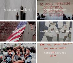 (1/8) Hamilton: An American Musical songs in pictures I Credit to strange constellation on tumblr
