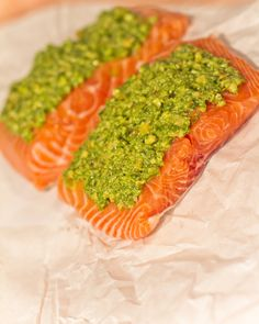 Pesto Salmon - Made this with store bought pesto and it was good. It almost poaches it so I think next time I will open up the foil pouch for the last 15 minutes of cooking to dry it out a bit.