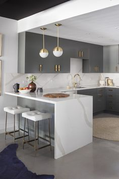 modern nuetral kitchen with serving counter