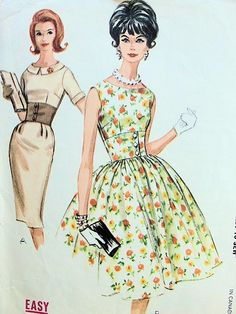 1960s MAD MEN SLIM or FULL SKIRTED MIDRIFF DRESS PATTERN FLATTERING STYLE McCALLS SEWING PATTERNS 6274