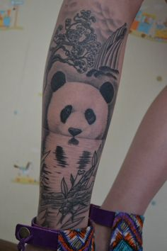 Panda tattoo done in 2012 by Sergey Furmanov, ALA, KZ