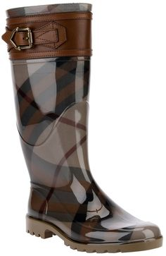 Burberry London belted check rain boot