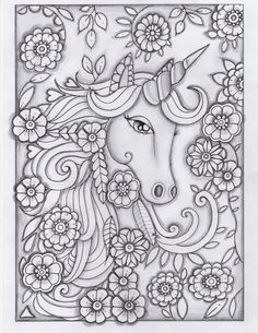 unicorn greyscale drawing unedited