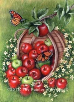 Apple basket acrylic painting by Arkansas artist Sheri Hart-beautiful!