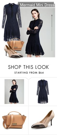"""VIPme: Navy Blue Lace Bowknot Mermaid Mini Dress"" by vipme ❤ liked on Polyvore featuring vipme"