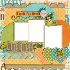 """August"" scrapbook page Scrapbook Sketches, Scrapbook Page Layouts, Scrapbook Albums, Scrapbook Cards, Scrapbooking Ideas, Digital Scrapbooking, Photo Layouts, Baby Scrapbook, Calendar Pages"