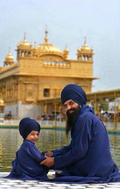 Father and son at the Golden Temple,Punjab World Religions, World Cultures, Kurta Pajama Punjabi, Guru Nanak Ji, Golden Temple Amritsar, Ammy Virk, Punjabi Culture, Religious Photos, Suit Accessories