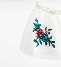 Floral appliqué tulle skirt
