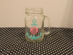 Monogram Mason Jar Perfect for bridal party by TheHomeMadeHoliday, $12.00