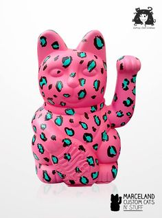 Animal Print Glam (pink) custom handpainted maneki neko by Marceland Custom Cats 'N Stuff.  www.marcelandcustom.com  www.facebook.com/marcelandcustom Crazy Cat Lady, Crazy Cats, Pastel Yellow, Pink, Wearing All Black, Maneki Neko, Cat Art, Rainbow Colors, The Incredibles