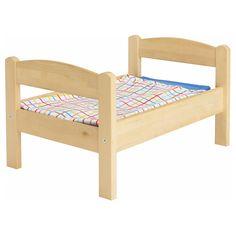 IKEA - DUKTIG Doll bed with bedlinen set pine, multicolor