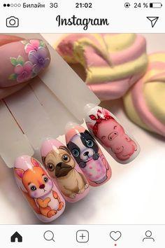 Animal Nail Art, Christmas Nails, Pretty Nails, Flower Power, Nail Art Designs, Russia, French, Painting, Enamels