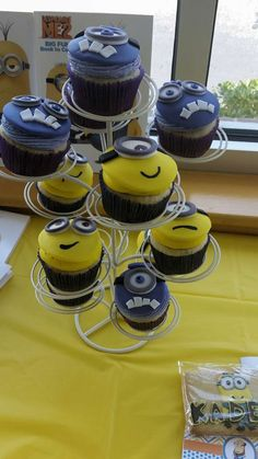 Fun cupcakes at a Despicable Me birthday party!  See more party planning ideas at CatchMyParty.com!