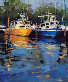 Yellow Boat by Trisha Adams Oil ~ 20 x 16