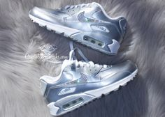 Nike Air Max 90 Silver Shoes Made with SWAROVSKI® Crystals