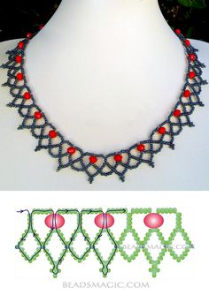 Free pattern for beaded necklace Сranberry 11/0-6-8 mm fánk