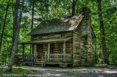 Two-Story Log Cabin in the Woods