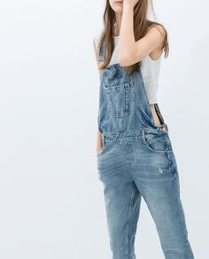 Image 3 of RIPPED BOYFRIEND DUNGAREES from Zara