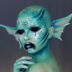 10 Spooky Makeup Looks for the Halloween Fanatic Makeup Fx, Makeup Eyeshadow, Alien Makeup, Blue Eyeshadow, Natural Prom Makeup, Monster Makeup, Sea Siren, Makeup Portfolio, Special Effects Makeup