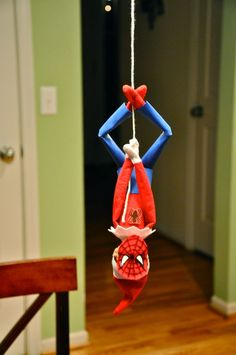 Elf Spiderman - such a cute and easy idea #elfontheshelf #elfontheshelf elf on the shelf