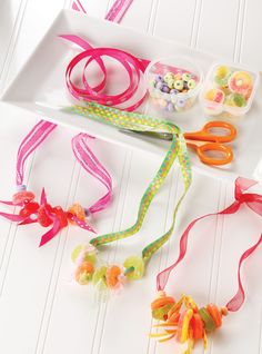Candy Necklace Making for Kids -- fun rainy day activity.