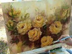 Pintando Rosas - Parte 1 - Óleo sobre tela por Shirley Sbeghen - YouTube