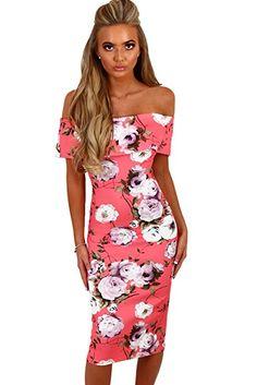4b25542af82 LongeYE Women s Off Shoulder Pink Multi Floral Bardot Bodycon Midi Dress  Fashion Party Dress Boho Dress