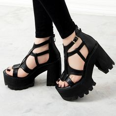 Aliexpress.com: Comprar 2016 Summer punta abierta sandalias de tacón grueso casuales zapatos femeninos plataforma moda negro mujeres bombas zapato con cierre de hebilla sandalias de sandalia azul fiable proveedores en BJL Co.,Ltd.