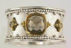 Sterling Silver with 18K gold accents and Smokey Quarts and Diamond Ring #larcjewelers