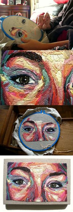 Julie Sarloutte, embroidery portrait Looking at the colours used and on a grey background Embroidery Art, Cross Stitch Embroidery, Embroidery Patterns, Portrait Embroidery, Couture Embroidery, Embroidery Needles, Modern Embroidery, Custom Embroidery, Crochet Patterns