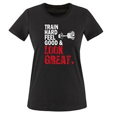 Comedy Shirts - TRAIN HARD & LOOK GREAT - DELUXE - mujer T-Shirt camiseta - negro / blanco-rojo tamaño XS #camiseta #starwars #marvel #gift