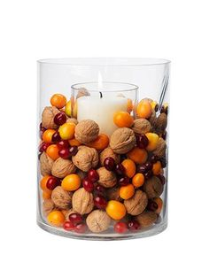 IFC Thanksgiving Dinner Simple Centerpiece Ideas: natural combo of walnuts, cranberries, and kumquats Simple Centerpieces, Thanksgiving Centerpieces, Autumn Party Decorations, Thanksgiving Table Centerpieces, Autumn Centerpieces, Pumpkin Decorations, Halloween Decorations, Cranberry Centerpiece, Hurricane Centerpiece