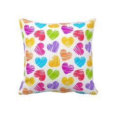 Vibrant Hearts Pillow