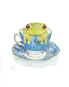 Frog Watercolor Teacup Watercolor by Water In My Paint
