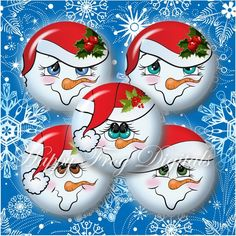 Snowmen faces with hats Set 1 1 30 mm Rock Crafts, Christmas Crafts, Christmas Decorations, Diy Crafts, Deco Table Noel, Painted Christmas Ornaments, Christmas Plates, Snowman Faces, Christmas Rock