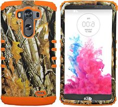 myLife Hunter Orange and Wood Brown {Leafy Forest Camo Design} Dual Layered 3 Piece Case for the LG G3 Smartphone (2 Piece Outer Rubberized Snap On Protector Shell + Internal Silicone SECURE-Grip Bumper Gel)
