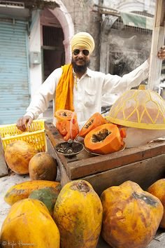 Sikh Vendor of Papayas. Wow, I think these are the biggest papayas I've ever seen.