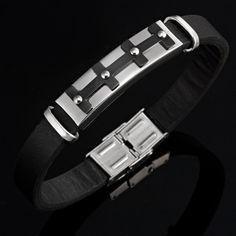 Stainless Steel Genuine Leather Black n Silver Crafting Mens Bracelet | RnBJewellery