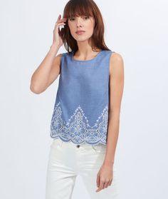 Top en coton brodé - Tops, tee-shirts - La collection - Prêt-à-porter
