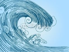 how to draw waves | Tsunami Wave Drawing from John Takai, Royalty-free vector #13910561 on ...
