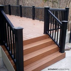 Check out our gallery of finished customer projects to inspire your next creative deck railing project. You'll find many beautiful deck railing ideas using cable railing. Vinyl Deck Railing, Composite Deck Railing, Outdoor Stair Railing, Deck Railing Design, Deck Railings, Deck Design, Outdoor Decking, Fresco, Black Railing