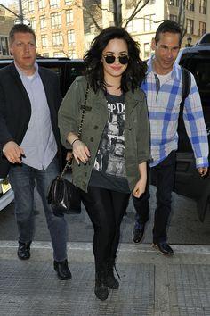 Singer Demi Lovato seen at Z 100 in New York City. Love her utility jacket!