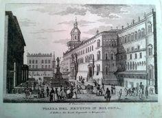 """GIOVANNI ZECCHI """"Piazza del Nettuno in Bologna"""" """"Principali vedute di Bologna presso Gio. Zecchi"""", raccolta di vedute, s.d., ca 1833-1840."""