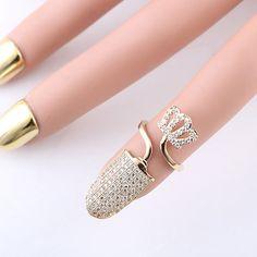 Stylish Crown Rhinestoned Cuff Nail Ring ==
