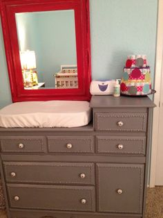love the grey dresser with the red mirror