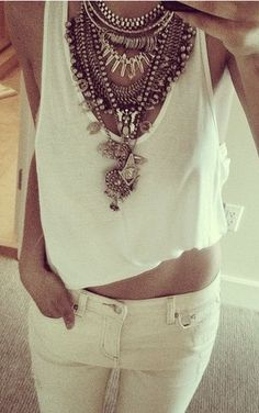 Statement necklaces! Make a statement with jewelry. Being bold!