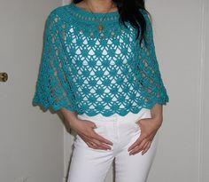 Elegant Lace Poncho - free pattern by Dot Matthews
